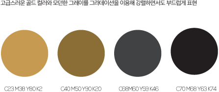 색상값1 : C23,M38,Y80,k2, 색상값2 : C40,M50,Y90,k20, 색상값3 : C68,M60,Y59,k46, 색상값4 : C70,M68,Y63,k74